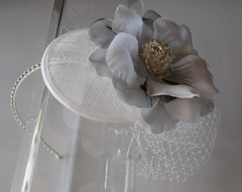 Ivory Silk Flower Sinamay Fascinator Hat with Veil and Crystal Headband, for bridal, weddings, bridesmaid, parties, special occasions