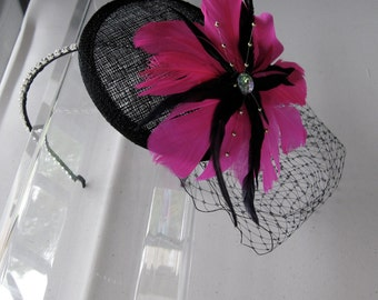 Fuchsia Pink Feather Flower Black Sinamay Fascinator Hat with Veil and Crystal Headband, for weddings, parties, cocktail, evening