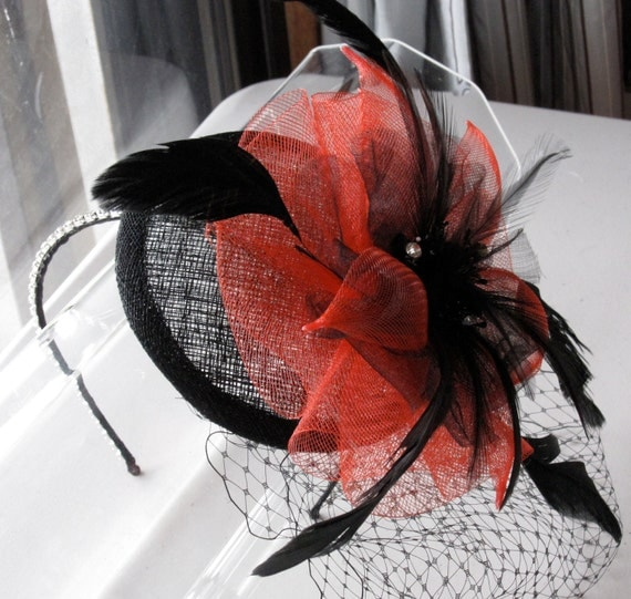 Red Flower Black Feather Sinamay Fascinator Hat with Veil and Crystal Headband, for weddings, parties, cocktail, evening, special occasions