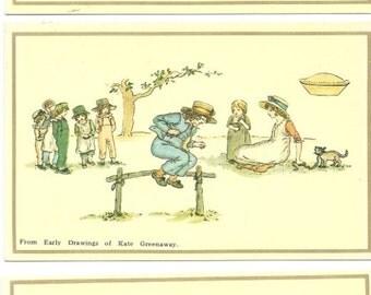 Set of Six Vintage Unused Kate Greenaway Postcards