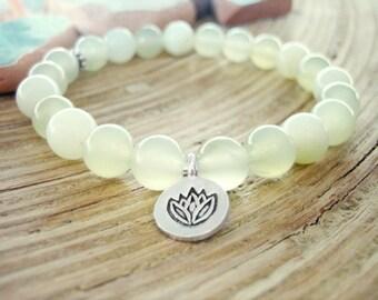 Lotus Bracelet - New Jade Bracelet with Silver Charm, Yoga Mala with Pastel Green Serpetine Beads