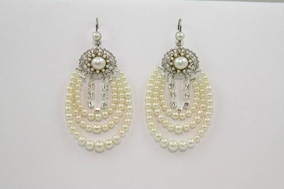 Chandelier Bridal Earrings, Bridal Jewelry, Wedding earrings, Multistrand Pearls, Silver, Statement Jewelry, Victorian, Rhinestone, Vintage