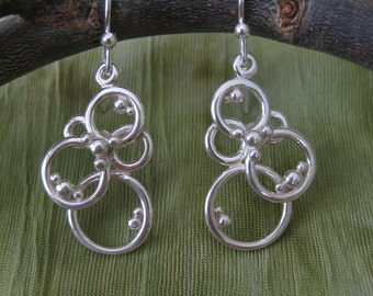 Earrings - Sterling Silver Circles and Spheres - Bubbles Earrings - Circle Earrings - Modern Jewelry by Jyoti McCall
