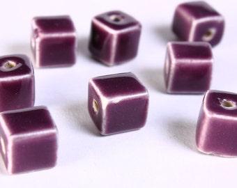 8 Purple violet mauve handmade bright glazed porcelain bead cube 8pcs 10mm (674) - Flat rate shipping