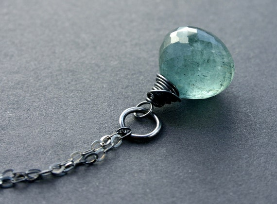 Moss Aquamarine Necklace with Oxidized Sterling Silver Genuine AAA Gemstone Fashion