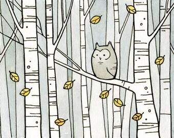 Owl & Birch Trees illustration print