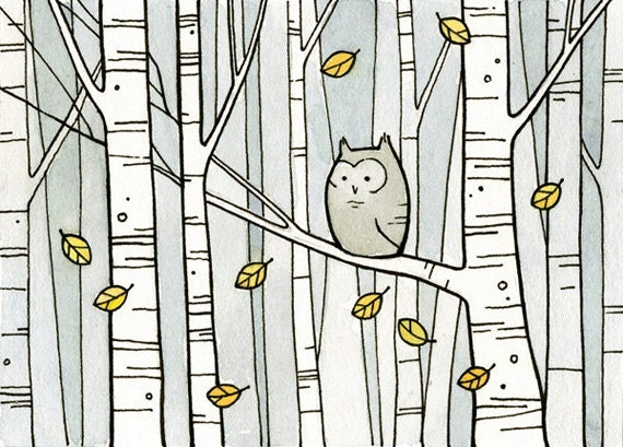 Owl & Birch Trees illustration print