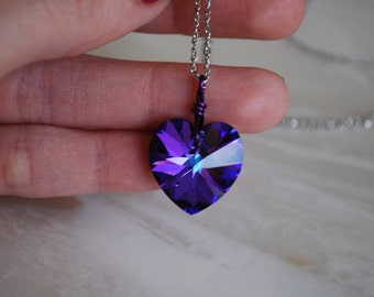 Purple Crystal Heart Necklace -- Swarovski Crystal Heart, Silver Chain
