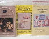 3 Angel Patterns, Mini Quilts, Tree Top, Dolls Crafts Projects Vintage Unused