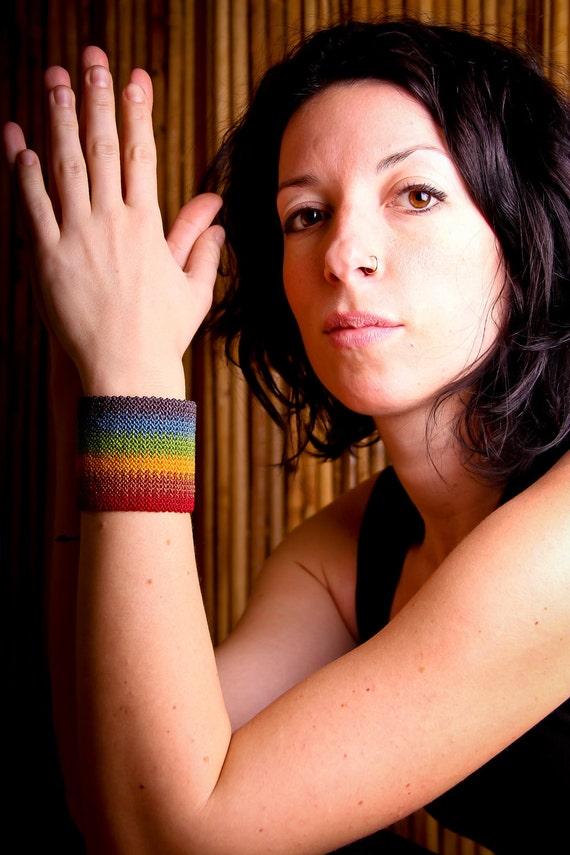 SALE - Unisex rainbow macrame cuff bracelet - Friendship Ready to ship micromacrame chakras zen gay pride summer multicolor large men