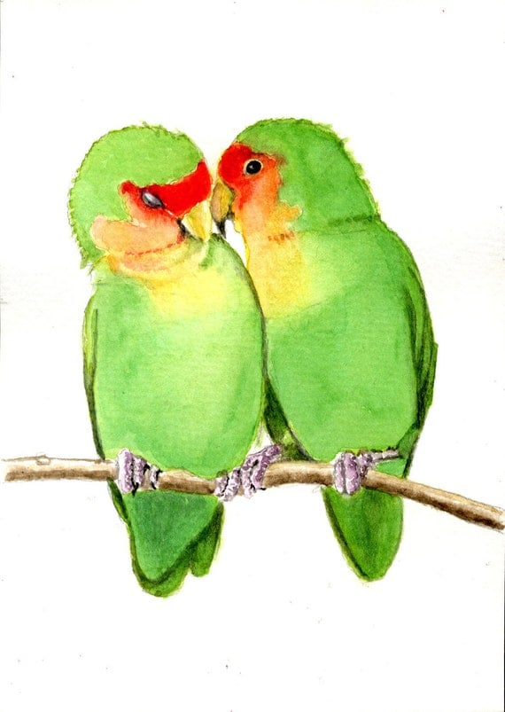 Peach faced lovebirds 5x7 PRINT from original watercolor, birds, art collectibles earthspalette