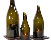 Wine Bottle Hurricane Lantern Trio