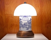 Upcycled Table Lamp / Vintage Tin / Coffee / Blue and White / Plastic Dome / Wooden Salad Bowl / MCM Decor / Cottage / Shabby Chic