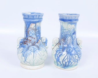 Vintage Blue Pottery Vases Hand Thrown Pottery Set of 2 Made in Japan Hand Painted Floral Etching Wedgewood Blue