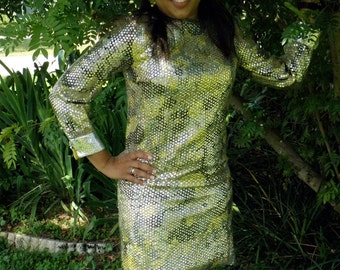 Psychedelic 1960s Silver Sequin L/S A-Line Vintage Mini Dress, Mod, Hippie, Groovy, Funky