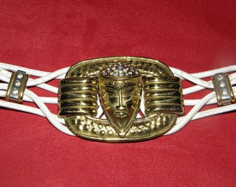 Vintage 1980's Large Brass Rhinestone Goddess/Alien Buckle White Leather Belt,  Made in Italy