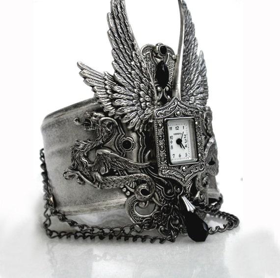 Gothic Steampunk Cuff Watch - Men Women Silver Wrist Watch - Gothic Jewelry