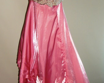 Vintage stunning amazing pink evening gown with beaded bra and Empire waist.