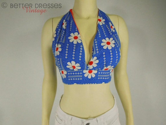 70s Halter Top Red White Blue Daisy Floral - sm, med, lg TREASURY ITEM