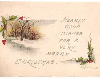 "Ca. 1920s ""Winter Scene"" Vintage Christmas Postcard - 185"