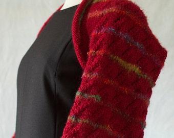 Red hand knitted shrug bolero