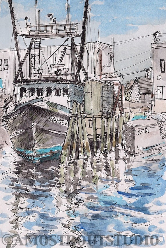 Scenic Fishing Boat Trawler at Dock Rhode Island Art Nature landscape watercolor painting art print 8.5x11 Home and Living Art Wall Hangings