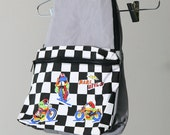 s a l e / / / Motocross Grey with Checkered Black and White 80s PVC Backpack / / / s a l e