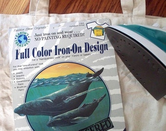 DIY Whale Vintage Iron On Design Full Color Transfer. Endangered Humpback w/ Calf for Girls, Boys or Retro Chic for Adults