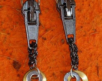 EARRINGS METAL Black ZIPPER  Industrial Design Unconventional Sassy  Jazzy Funky Chic Dare to Wear