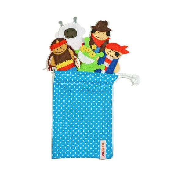 Fantastic Heroes Finger Puppets Bag - 5 Felt Finger Puppets and Bag - Kids Felt Toy
