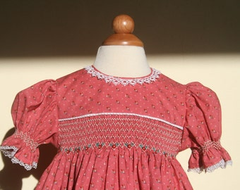 Classic short sleeve hand smocked dress - size 12 months