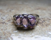 15% Off Sale.S56 Made to Order...New Sterling Silver Multistone Ring Mount With 2 Carats of Oval Cut Natural Amethyst Gemstones