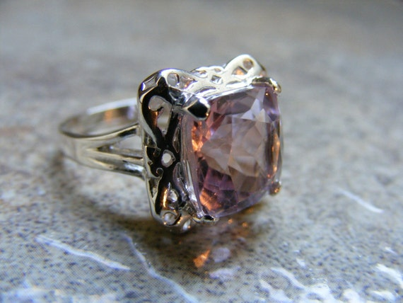 15% Off Sale.S59 Made to Order...Solid Sterling Silver or Solid Gold Antique Filigree Style Ring 6 Carat Natural Amethyst Gemstone