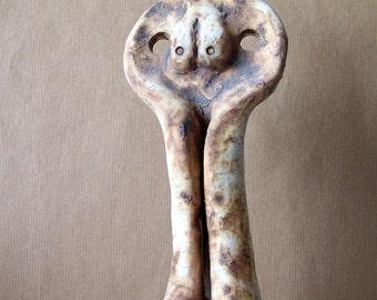 Ceramic Female Ancient Greece Mycenaean Technique Inspired Statuette
