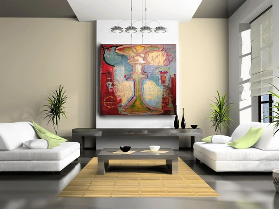 Huge Abstract Painting Modern Abstract Art, Red and Aqua Original Painting Large Abstract Zen Painting by Cheryl Wasilow.