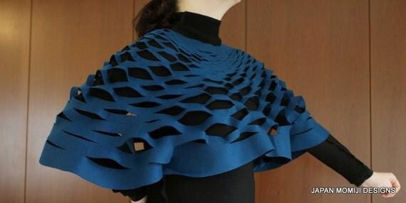 Blue felt stole, felt poncho, felt bolero, felt shawl, handmade felt stole, japanese felted stole