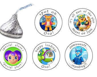 90 Assorted Hershey KISS Stickers Labels Special Agent OSO Birthday Party Favors Candy Dottie Wolfie Special Alert