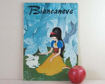 Biancaneve - Snow White - Vintage Italian Book - Childrens Book - Big Eye Art Book - Retro Wall Decor - Illustrated Book - Typography Art