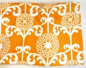 Designer Kitchen Valance Orange/ Persimmon With Floral Design. Waverly Fabric. (curtain rod not included).