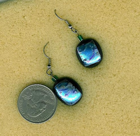 Blue dichroic handmade - One of a kind Fused glass earrings