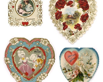 4 VALENTINES ABSOLUTELY LOVELY Antique Cards Instant Collection