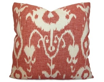 Ikat Pillow Cover in Cranberry Red and Cream - Decorative Pillow - Throw Pillow - Accent Pillow - 18x18 20x20 22x22 or Lumbar Sizes