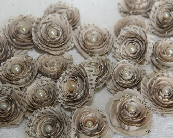 6 Spiral Paper Flowers / Vintage Book Page Paper Flowers for Scrapbooking,Weddings,Brooches,Hair Clips, Home Decor,Card Making
