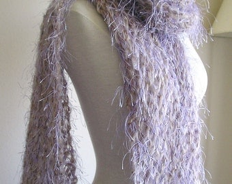 "Lacy, Fuzzy, Extra Long Scarf - ""Lavender Pebbles"" - Multicolored grey, lavender and brown --OOAK"