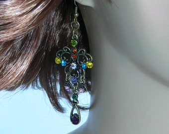 SALE - Earrings - Antique Brass with Colored Stones - FS-083