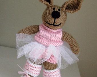 Gift for Girl Bunny Doll - Hand Knit Bunny Ballerina - Child Toy - Stuff Animal - Plush Doll - Kids Doll - Kids Toy - Plush Animal Nicole