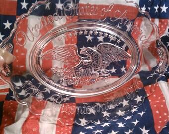 Vintage Bicentennial 1776 Avon USA Patriotic Crystal Commemorative Plate