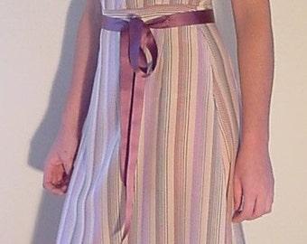 V Neck Dress, Fit and Flare Dress, Pink Dress, Silk Dress, Striped Dress, Sheath Dress, Midi Dress in Stripe Silk Crepe-de-Chine, OOAK