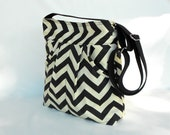 Tote Bag Messenger Bag Shoulder Bag Black & Cream ZigZag