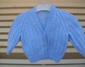 Vintage style Baby boys blue V neck panel cardigan,To fit approx. 6-9months.Hand knitted. Spring, Fall, Winter. Holiday gift, Baby shower